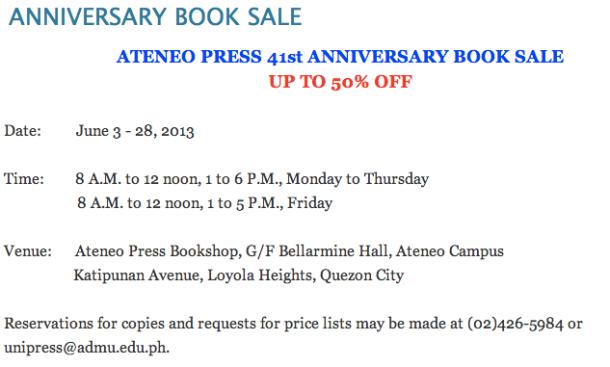 Ateneo Press Anniversary Book Sale