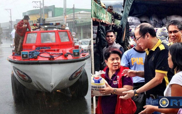 Richard Gordon and Noynoy Aquino at work during relief efforts. Sources: Philippine Red Cross and Department of Social Welfare and Development