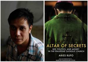 Author Aries Rufo and Book Cover. Image from http://www.spot.ph/peopleparties/53656/aries-rufo-and-the-altar-of-secrets